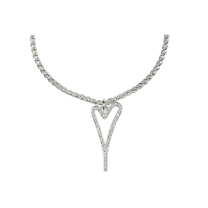 1800528 - Miss Dee 1 Micron Silver Plated necklace with hollow heart & diamante pendant