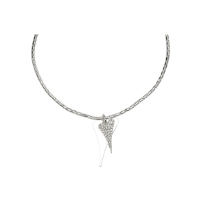 1800536 - Miss Dee 1 Micron Silver plated long 70cm  necklace with 2 heart pendants