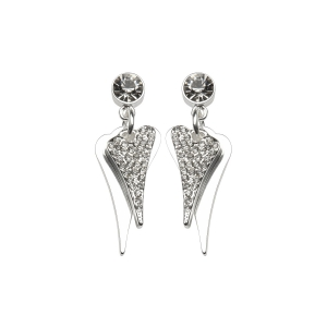 1800539 - Miss Dee 1 Micron Silver plated diamante stone stud earrings and 2 heart drop pendants