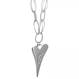 1800544- Miss Dee 70cm long silver plated multi links necklace with plain solid heart drop pendant