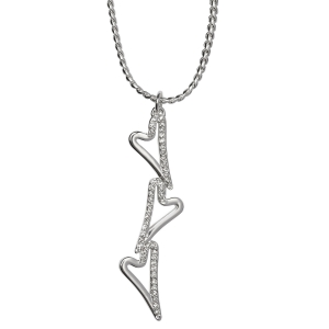 1800547-Miss Dee 1 micron silver plated necklace with 3 heart drop pendant