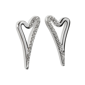 1800549- Miss Dee 1 micron silver plated heart shaped fashion earring with 1/2 plain & 1/2 diamante studded face