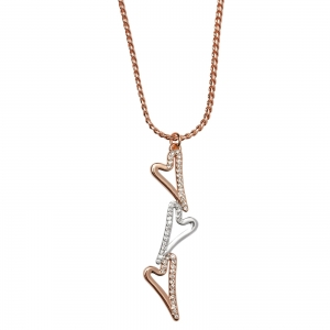 1800550- Miss Dee rose gold plated necklace with 3 heart drop pendant and diamante edging