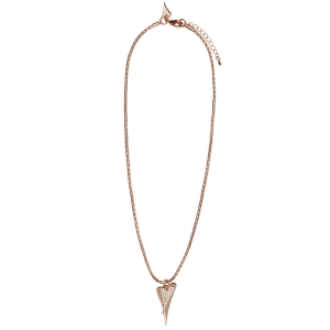 1800554- Miss Dee rosegold plated fashion necklace with 2 heart shape drop pendants