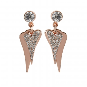 1800556- Miss Dee 14 ct rose gold plated diamante and plain heart shaped drop earrings