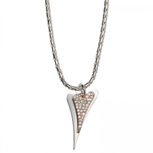 1800558- Miss Dee silver plated necklace with 2 heart shape drop pendant