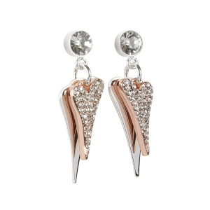 1800560- Miss Dee 1 micron silver plated diamante stud earring with 2 heart drop pendants