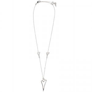 1800562- Miss Dee silver plated delicate necklace chain with 2 small solid hearts and one large hollow heart shaped drop pendant