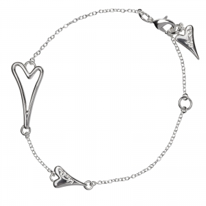 1800563- Miss Dee 1 micron silver plated delicate bracelet with hollow heart shaped pendant