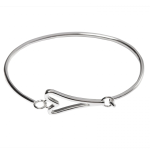 1800564- Miss Dee 1 micron silver plated solid bangle with a hollow heart shaped pendant fastening