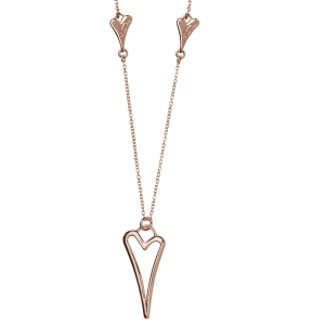 1800566_ Miss Dee 14 ct rose gold plated delicate necklace chain with 2 small solid hearts and one large hollow heart shaped dro