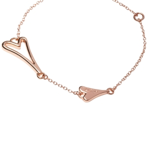 1800567- Miss Dee 14 crt rose gold plated thin bracelet will hollow heart shape pendant