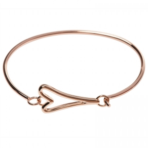1800568- Miss Dee 14 ct rose gold  plated solid bangle with a hollow heart shaped pendant fastening