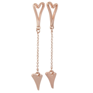 1800569- Miss Dee 14 Crt rose gold plated hollow heart stud earring with chain and solid heart drop