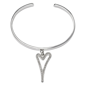 1800579-Miss Dee 1 micron silver plated cuff bangle with a diamante hollow heart pendant