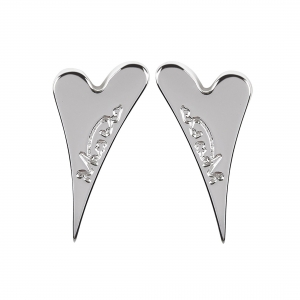 1800581- Miss Dee 1micron silver plated plain heart shaped stud earrings
