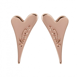 1800582- Miss Dee 14 crt Rose gold plated plain heart shaped stud earrings