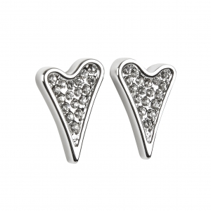 1800583- Miss Dee 1 micron silver plated diamante shaped heart stud earrings