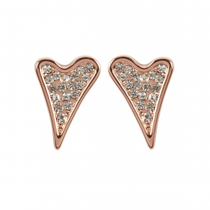 1800584- Miss Dee 14 crt Rose Gold plated diamante shaped heart stud earrings