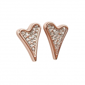 Miss Dee 14crt rose gold plated double heart shaped drop stud earrings