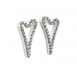 1800585- Miss Dee 1 micron silver plated hollow Heart and diamante face stud earring