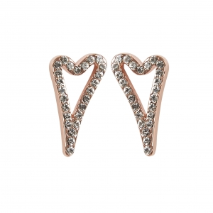 1800586- Miss Dee 14 crt Rose gold plated hollow heart shaped stud earring with diamante face
