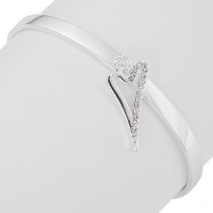 1800604-Miss Dee Silver Bangle With Hollow And half Czech Crystal Heart Pendant
