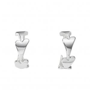 1800611 - Miss Dee Silver plated Plain Hearts Hooped Earring