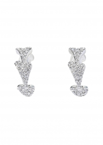 1800619 - Miss Dee Silver Plated & Diamante Hearts Hooped Earring