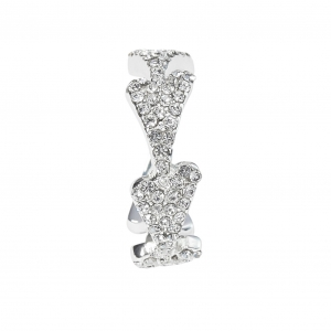 1800621- Miss Dee silver plated heart shaped adjustable ring with czech crystals