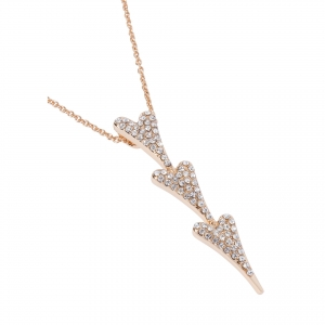 1800622- Miss Dee rose gold plated delicate necklace with a 3 heart drop pendant with Czech crystals