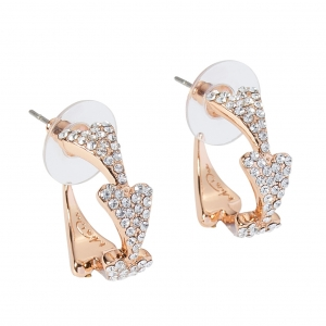 1800623 - Miss Dee Rose Gold Plated & Diamante Hearts Hooped Earring