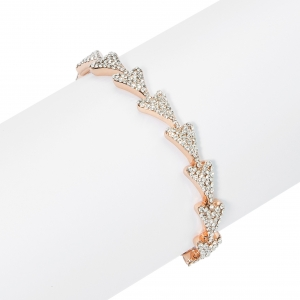 1800624 - Miss Dee Rose Gold Plated heart shaped adjustable bangle with Czech crystals