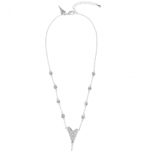 1800626- Miss Dee Silver Plated delicate necklace chain with diamante stone links & diamante heart shaped pendant