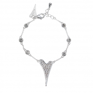 1800627- Miss Dee silver plated delicate bracelet chain with diamante stone links & diamante heart shaped pendant