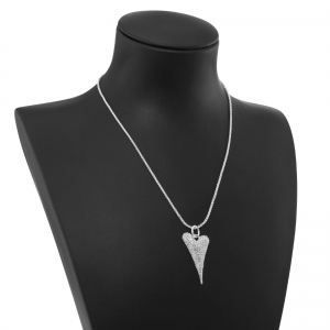 1800632-Miss Dee Silver Delicate Necklace With A Czech Crystal Paved Heart Pendant