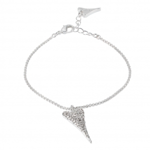 1800633-Miss Dee Silver Delicate Bracelet With A Czech Crystal Paved Heart Pendant