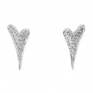 1800634 - Miss Dee silver plated heart shaped stud earrings with czech crystals