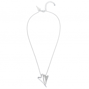 1800635- Miss Dee silver plated delicate necklace chain with a hollow and diamante heart shaped pendants