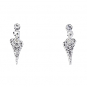 1800640- Miss Dee silver plated crystal stud earrings with a diamante heart drop