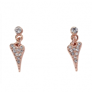 1800641- Miss Dee Rose Gold  plated crystal stud earrings with a diamante heart drop