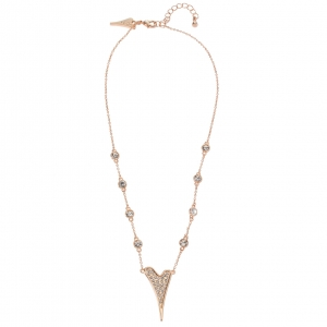 1800643- Miss Dee Rose Gold Plated delicate necklace chain with diamante stone links & diamante heart shaped pendant