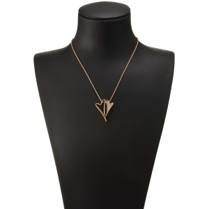 1800650- Miss Dee Rose Gold plated delicate necklace chain with a hollow and diamante heart shaped pendants