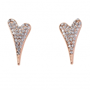 1800652 - Miss Dee Rose Gold plated heart shaped stud earrings with czech crystals