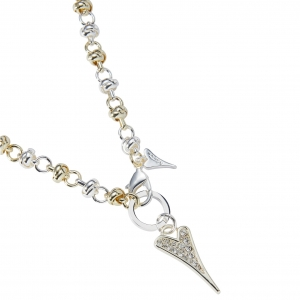 1800661-Miss Dee Sterling Silver and Gold  Knot Chain Necklace