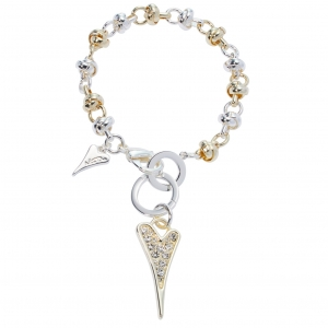 1800662-Miss Dee Sterling Silver And Gold Crystal Heart Knot Chain Bracelet