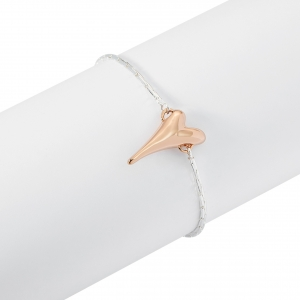 1800665- Miss Dee silver plated delicate bracelet chain with a rose gold plated heart shaped pendant