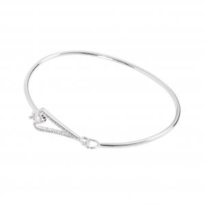 1800670-Miss Dee Silver Plated Thin Cuff Bangle With A Hollow Heart And Clear Czech Crystal Stones Fastening