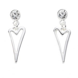 1800675-Miss Dee Silver Plated Hollow Heart Drop With Crystal Stud