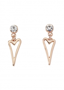 1800679- Miss Dee RoseGold Plated Hollow Heart Drop With Crystal Stud